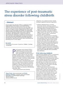 The experience of post-traumatic stress disorder following childbirth