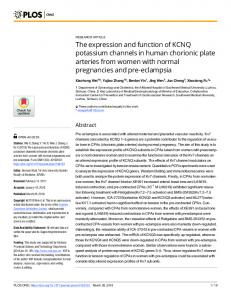 The expression and function of KCNQ potassium channels in ... - PLOS
