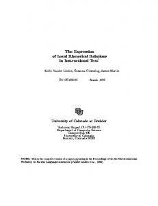 The Expression of Local Rhetorical Relations in ... - CiteSeerX