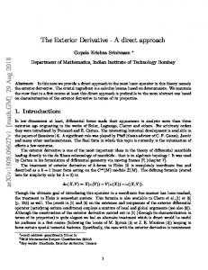 The Exterior Derivative-A direct approach