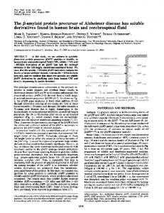 The f8-amyloid protein precursor of Alzheimer disease ... - Europe PMC