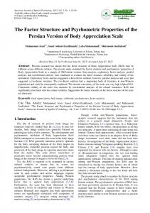 The Factor Structure and Psychometric Properties ... - Semantic Scholar