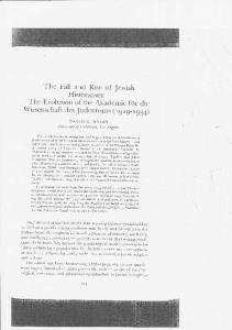 The Fall and Rise of Jewish Historicism - Social Sciences Division