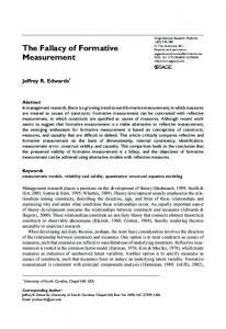 The Fallacy of Formative Measurement - Semantic Scholar