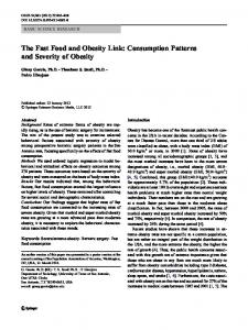 The Fast Food and Obesity Link: Consumption Patterns ... - Springer Link