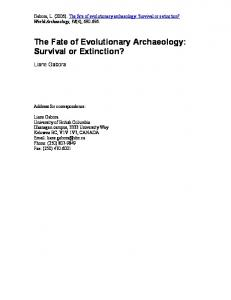 The Fate of Evolutionary Archaeology: Survival or Extinction?