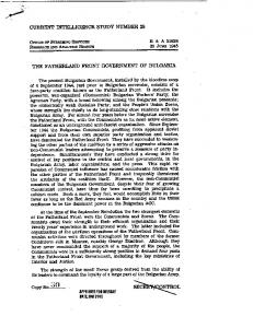 THE FATHERLAND FRONT GOVERNMENT OF ... - CIA FOIA