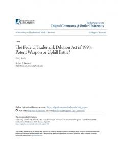 The Federal Trademark Dilution Act of 1995 - Digital Commons ...