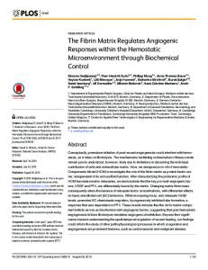 The Fibrin Matrix Regulates Angiogenic ... - Semantic Scholar
