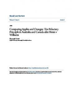 The Fiduciary Principle in Australia and Canada after Breen v Williams