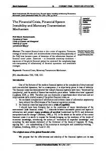 The Financial Crisis, Financial System Instability and Monetary ...