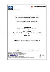 The Financial Services Reform Act 2001: Impact on ... - ICMA Centre