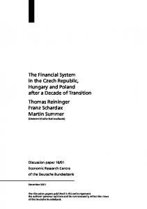 The Financial System in the Czech Republic, Hungary ... - SSRN papers