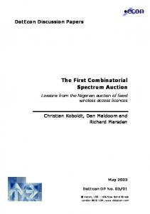 The First Combinatorial Spectrum Auction - CiteSeerX
