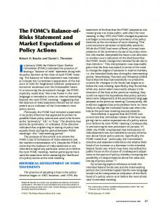 The FOMC's Balance-of-Risks Statement and Market Expectations of ...