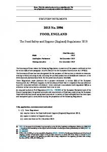 The Food Safety and Hygiene (England) Regulations 2013