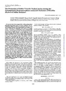 The Formation of Sulfur Trioxide Radical Anion ...
