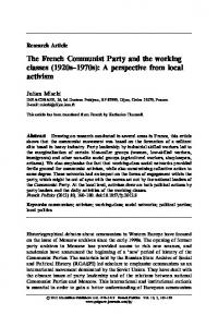 The French Communist Party and the working classes - Springer Link