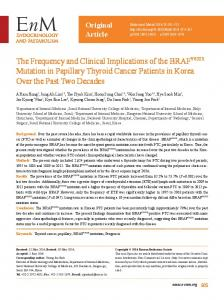 The Frequency and Clinical Implications of the BRAFV600E Mutation ...