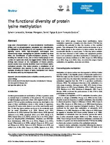 The functional diversity of protein lysine methylation - BioMedSearch