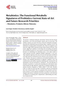 The Functional Metabolic Signatures of Probiotics - Scientific ...
