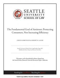 The Fundamental Goal of Antitrust: Protecting ... - SSRN papers