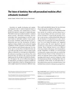 The future of dentistry: How will personalized medicine affect ... - SciELO