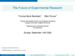 The Future of Experimental Research - TU Dortmund
