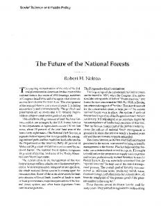 The Future of the National Forests. - School of Public Policy