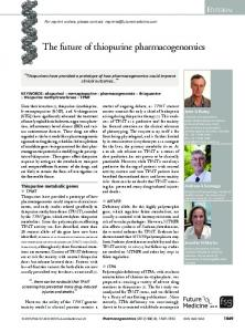 The future of thiopurine pharmacogenomics - Future Medicine
