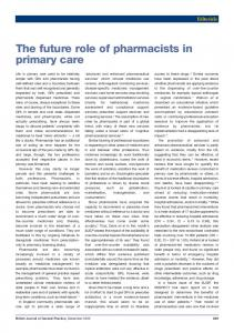 The future role of pharmacists in primary care