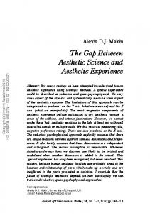The Gap Between Aesthetic Science and Aesthetic Experience - Core