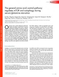 The general amino acid control pathway regulates mTOR and ...