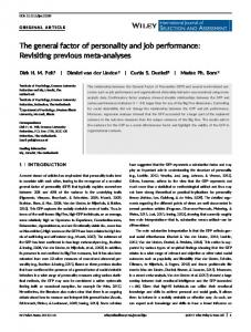 The general factor of personality and job performance