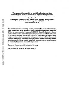 The generation model of particle physics and the cosmological matter ...