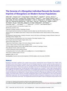 The Genome of a Mongolian Individual Reveals the ... - Oxford Journals