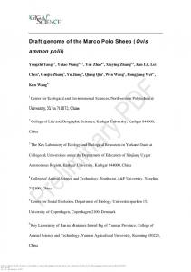 The genome of the Marco Polo Sheep (Ovis ammon ...