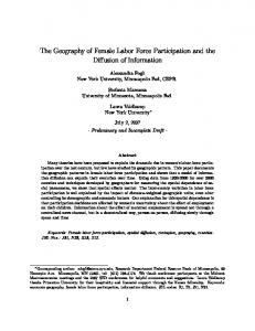 The Geography of Female Labor Force Participation and ... - NYU Stern