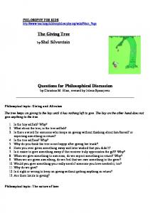 The Giving Tree by Shel Silverstein Questions for ... - SAIL Program