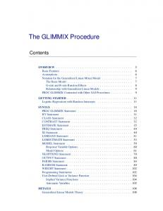 Introducing the GLIMMIX Procedure for Generalized Linear