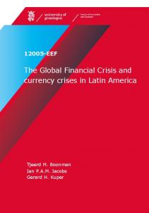 The Global Financial Crisis and currency crises in Latin America - RuG