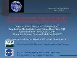 The Global Reservoir and Lake Monitor (G-REALM ...