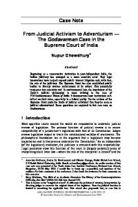 The Godavarman Case in the Supreme Court of India