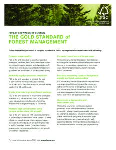 THE GOLD STANDARD of FOREST MANAGEMENT