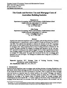 The Goods and Services Tax and Mortgage Costs of Australian ...