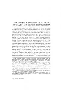 the gospel according to mark in two latin mixed-text ...