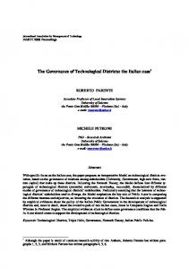 The Governance of Technological Districts: the Italian ...