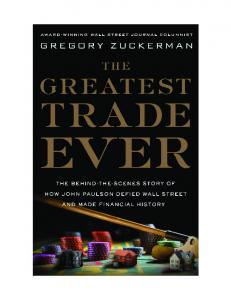 The Greatest Trade Ever - by Gregory Zuckerman