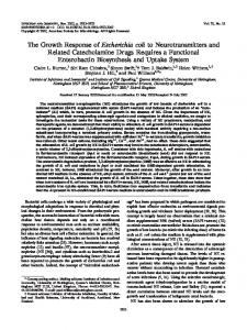 The Growth Response of Escherichia coli to Neurotransmitters and ...