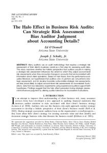 The Halo Effect in Business Risk Audits: Can Strategic Risk ...
